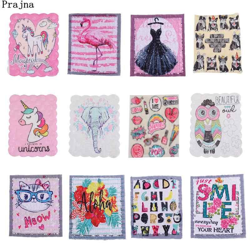 Prajna Einhorn Patch Applique Flamingo Katzen Hund Pailletten Patches Für Kleidung DIY Kleid Elefanten Zubehör Frau Dame Jacke