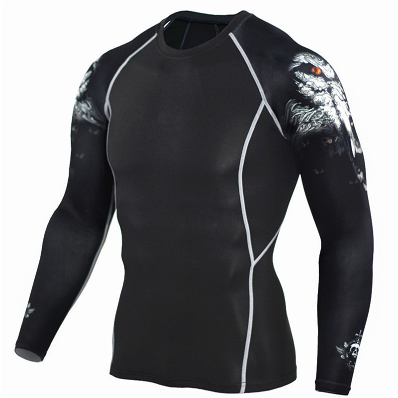 2017 피트 니스 남성 긴 소매 티셔츠 패션 늑대 압축 3D 셔츠 보디 빌딩 크로스 피트 빠른 드라이 티셔츠