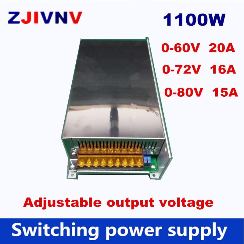 цена на 1100W Switching Power Supply 0-72V 16A DC output voltage adjustable 0-60V 20 AC-DC power supply 0-80V 15A, AC input 110V or 220V
