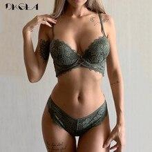 Neue Mode ArmyGreen Bh Set Push Up Büstenhalter Baumwolle Dicken Sammeln Bhs Frauen Dessous Sets Stickerei Spitze Unterwäsche Set Sexy