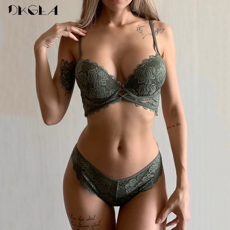 New Fashion ArmyGreen Bra Set Push Up Brassiere Cotton Thick Gather Bras Women Lingerie Sets Embroidery Lace Underwear Set Sexy