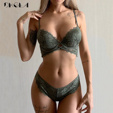 Nuevo conjunto de sujetador de moda de color verde militar, sostén push up de algodón grueso, conjunto de lencería para mujer, conjunto de ropa interior de encaje bordado Sexy
