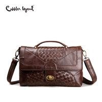 Cobbler Legend Old School Women Bag Knitting Satchel Vintage Genuine Leather Tote Classic Briefcase Designer Handbag