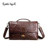 Cobbler Legend Old School Women Bag Knitting Satchel Vintage Genuine Leather Tote Classic Briefcase Designer Handbag Brand