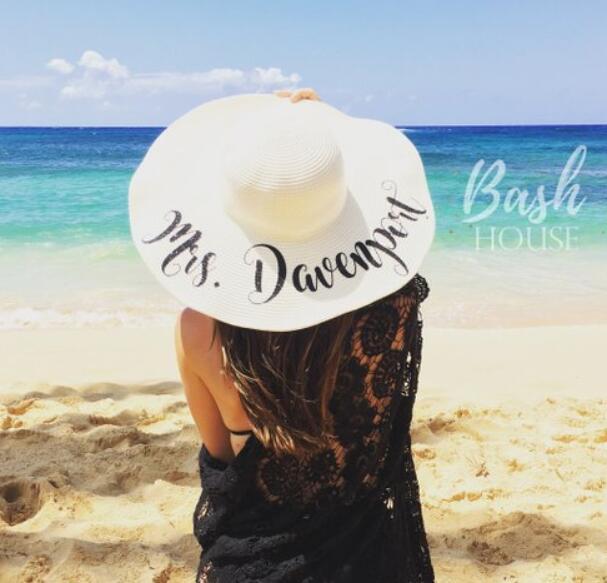 Detail Feedback Questions about personalize glitter bride Honeymoon Beach  Hats 98577805b67