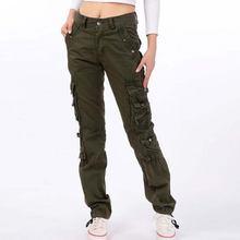 Женские брюки из хлопка; повседневные карго; большие размеры