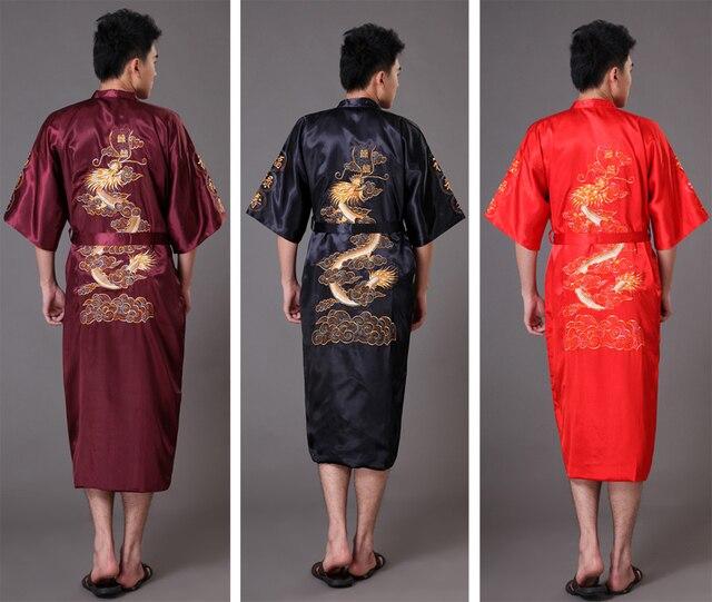06d4b39c48627 Китайский длинные людей сатин домашний халат вышивка мужской кимоно халате  дракона ночные рубашки пижамы