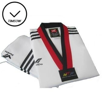 TIMEOW 55% algodón Taekwondo Dobok 3 uniforme de rayas ropa de Karate profesional traje de traje para niños y adultos