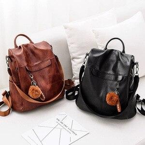 فتاة شعري بو الجلود على ظهره النساء السفر الحقيبة الكلاسيكية قدرة كبيرة عارضة الطلاب حقيبة مدرسية سيدة حزمة