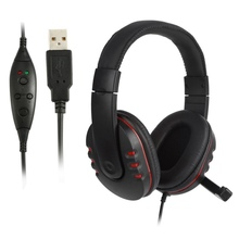 New  2m Cable HiFi Leather USB Wired Stereo Micphone Noise canceling Headphone With Mic Headset for PS3/PS4 PC Game N
