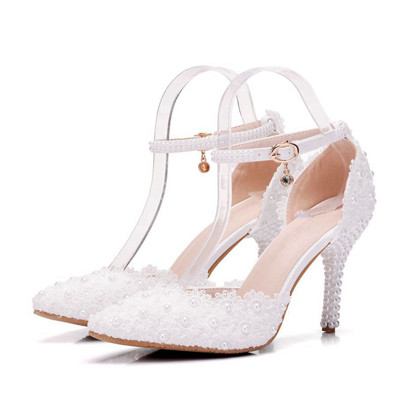 Woman Leather Crystal Flower Sandal Fashion White High Heeled Shoes Sexy Wedding Bride Sandal 2018 Handmade Pearl Shoes XY A0078 in High Heels from Shoes