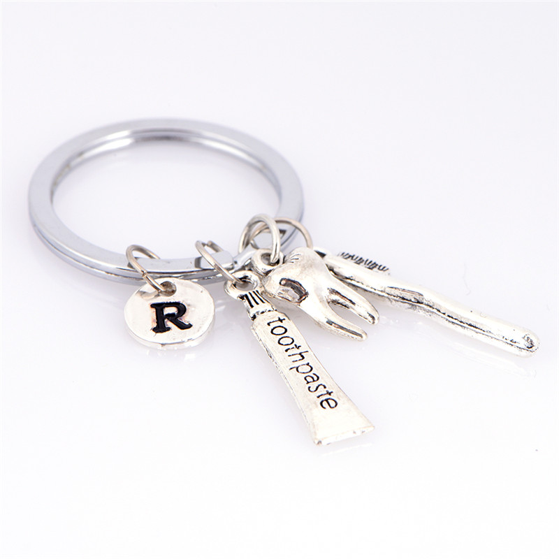 Tooth /R /toothbrush /toothpaste CharmKeychain Dental Hygienist Keychain Ring Key Ring For Car Bag Handbag image