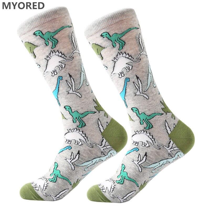 MYORED men's socks combed cotton Jacquard cartoon animal dinosaur cactus penguin male business dress crew socks wedding gift sox