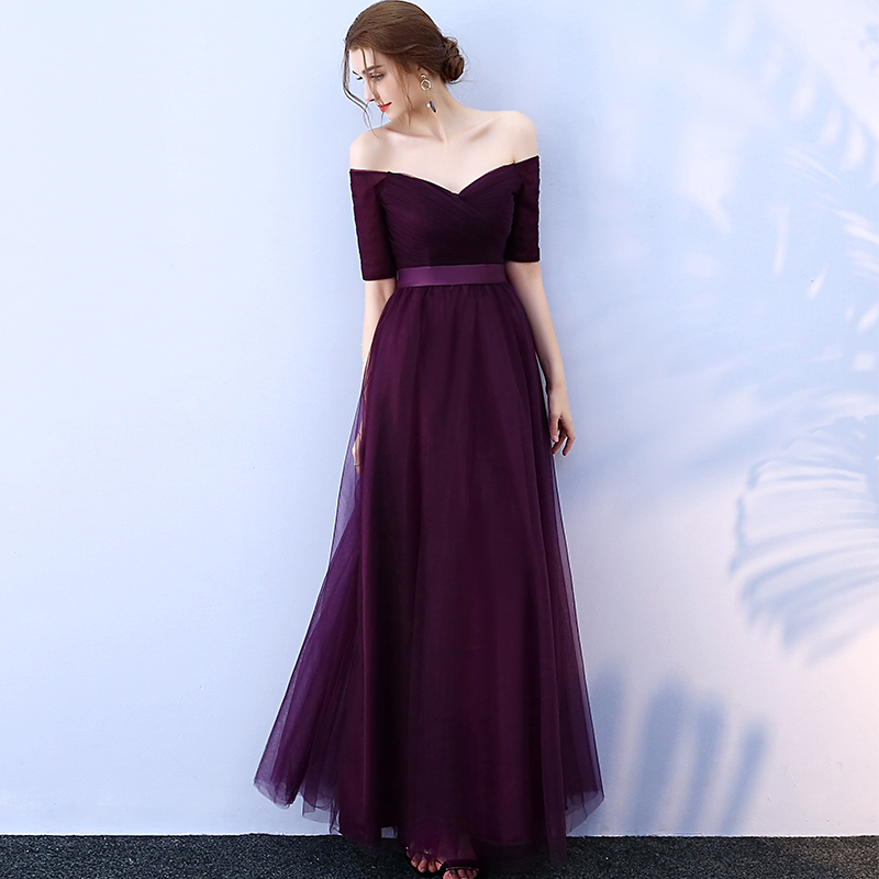 Long Purple Red Gray Woman Evening Dresses 2019 A-Line Off the Shoulder Half Sleeve Special Occasion Dresses robe de soiree(China)