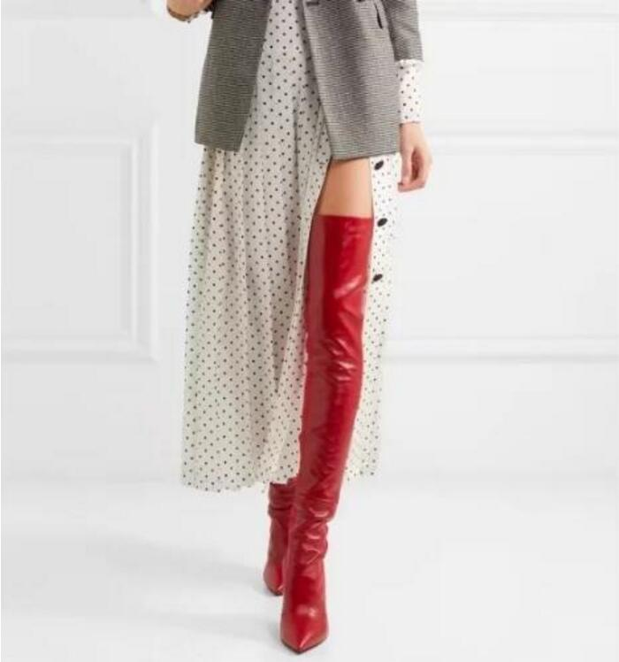 Здесь продается  Hot Women Black Red Velvet Leather Pointed Toe 100 mm Thin Heels Slip On Rockoko Over The Knee Thigh High Boots Big Size 42  Обувь
