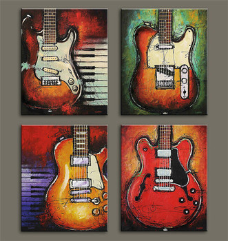 4 pieces Abstract the Flame Guitar HD Wall Picture Home Decor Art Print Painting  Canvas For Living Room Unframed  Ink Printing guitar canvas art