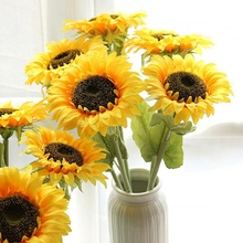 1 Stem Artificial Silk Flower Sunflower Fake Wall Decoration Lifelike Party Decorations
