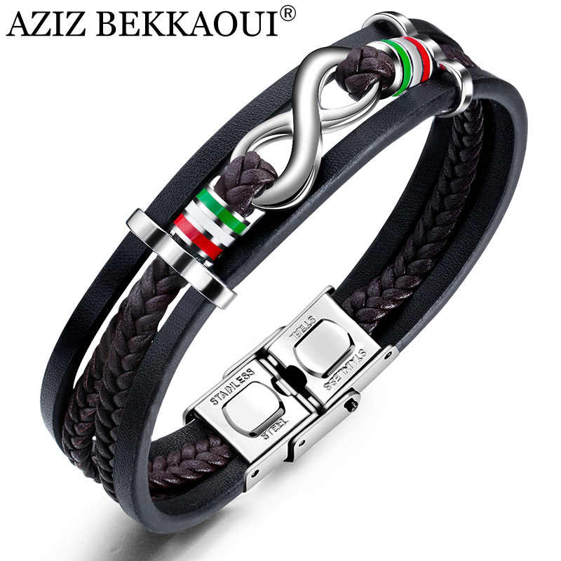 AZIZ BEKKAOUI Vintage Endless Love Stainless Steel Bracelets Infinity Leather Bracelet  for Men Rope Bangle Gift Dropshipping