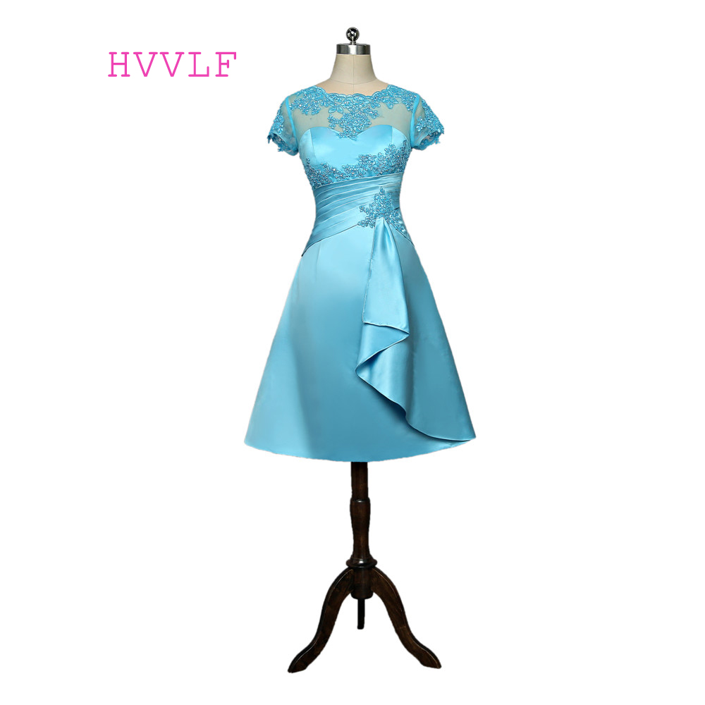 Blue 2019 Mother Of The Bride Dresses A-line Cap Sleeves Appliques Lace Beaded Plus Size Groom Short Mother Dresses For Wedding