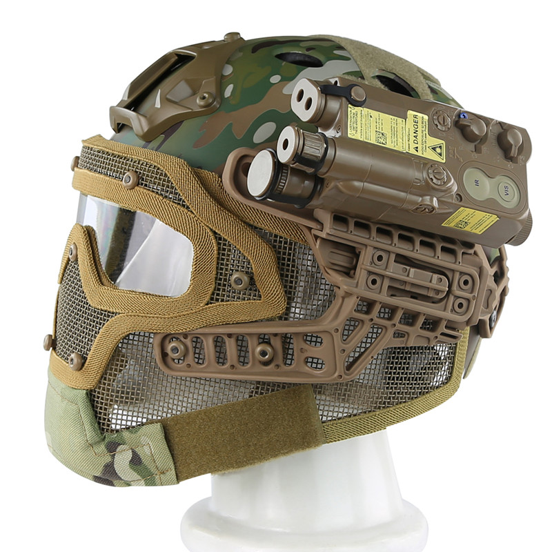 Military Tactical Helme Full Face Cover Protection Mask Helmet With Protective Goggle Airsoft Paintball Mesh Face Mask Helmet цены онлайн