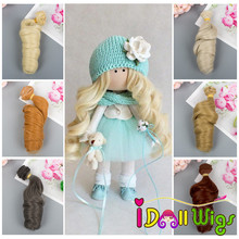 1 pieces 15cm Extension Doll Hair Wigs Natural Color Curly Hair Piece for BJD/SD Russian Handmade Doll Wigs 1pcs 15cm 25cm straight doll wigs for russian handmade diy accessory doll hair