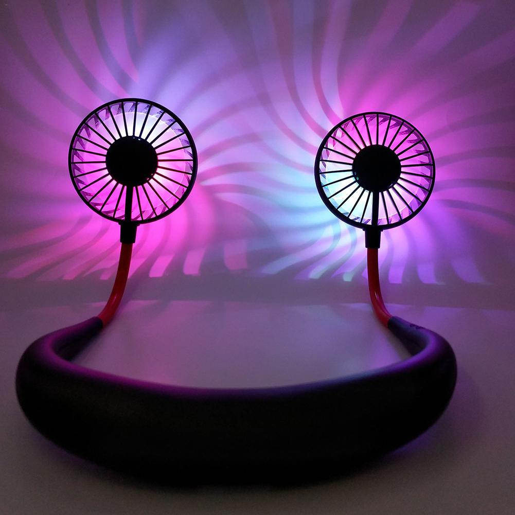 Portable Illuminated 2 Fans Hanging Neck Fan USB Rechargeable Cover Halter Sports Light Aromatherapy Fan High Quality