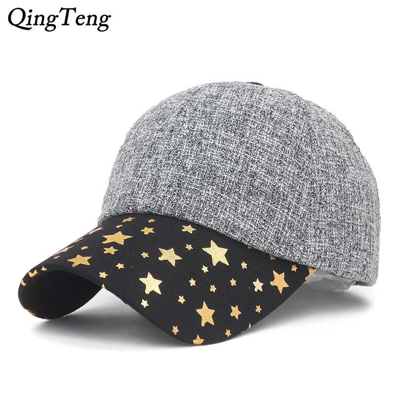 New Warm Winter Hats For Men Fashion Sun Visor Print Stars Cap Women Super Warm Bone Dad Hat Dropshipping