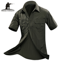 MEGE Summer Men Shirt Short Sleeve Military Shirt Mens Loose Fashion Casual Boss Shirt Vetement Homme