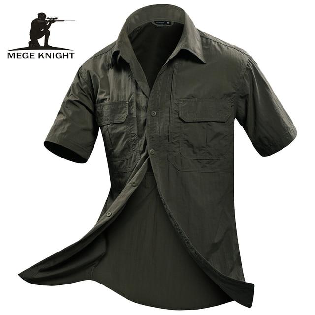 MEGE Verano Hombres Camiseta de Manga Corta Camisa Militar Camisa de Boss Mens Flojos Ocasionales de La Manera Camisa Masculina Sociales Homme Vetement