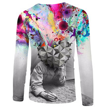 New Design 3D Fashion Print Brain Hole Wide Open Men's Clothing Men Long Sleeve