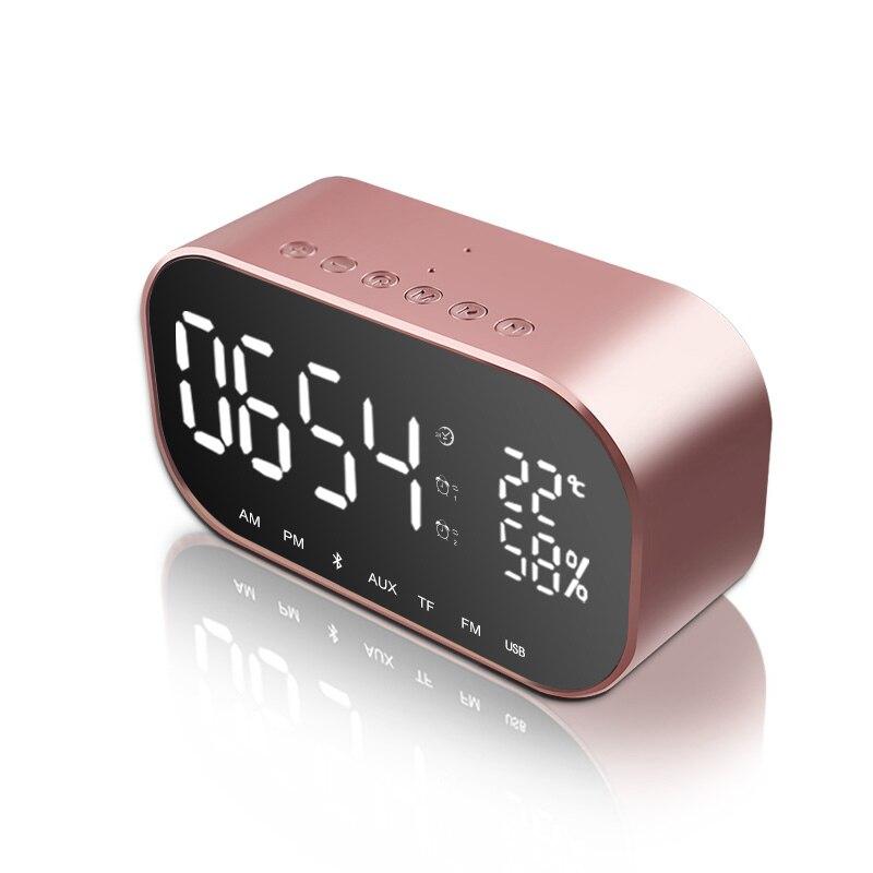 Wireless Bluetooth Speaker Portable Bass Stereo Sound Column Box Support Temperature LCD Display FM Radio Alarm Clock