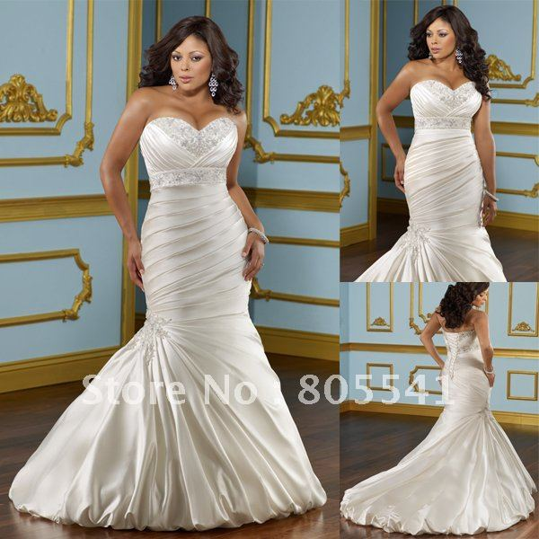 Mole 3116 free shipping designer mermaid sweetheart for Plus size silk wedding dresses