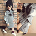 2016 new brand girls grey dress full sleeve Ruffled high collar kids girl pencil dresses outfit for children clothing