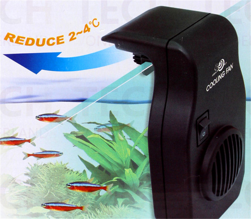 Cooling fan mini nano hang on aquarium water plant fish reef coral tank temperature reduce 110v 240v