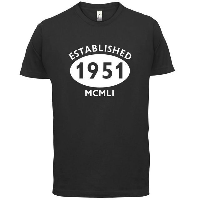 1951 Roman Numerals 65th Birthday Mens T Shirt 13 Colours Gift