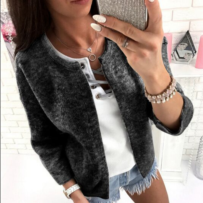 CFYH New Fashion Women O-Neck Casual Short   Jacket   Coat Long Sleeve Outwear Up Slim   Basic     Jacket   Tops