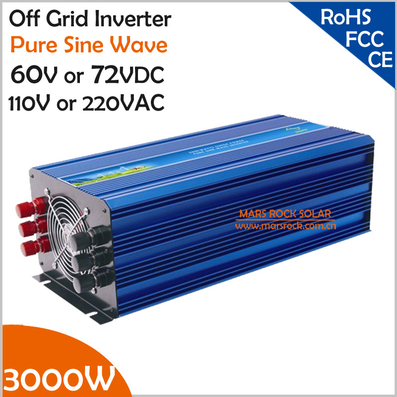 цена на 3000W 60V/72V DC to AC 110V/220V Off Grid Pure Sine Wave Solar Inverter or Wind Inverter, Single Phase PV Inverter