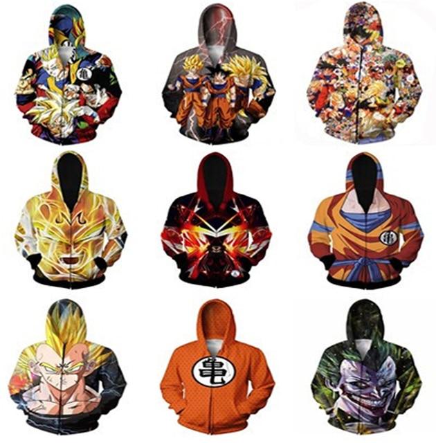 Harajuku style Anime Dragon Ball Super Saiyan 3D Hoodies Zipper Outerwear Men/women 3d Hoodie Loose Hooded Sweatshirt