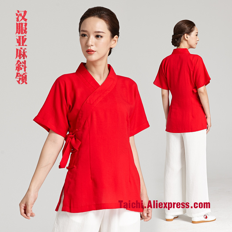 New Pattern Tai Chi  Unifrom Woman Flax  Taiji Boxing Performance Clothing  Summer Short Sleeve Linen Kung Fu  Suit