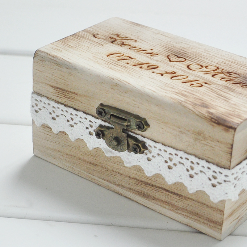 Personalized Gift Rustic Wedding Ring Bearer Box Custom Your Names