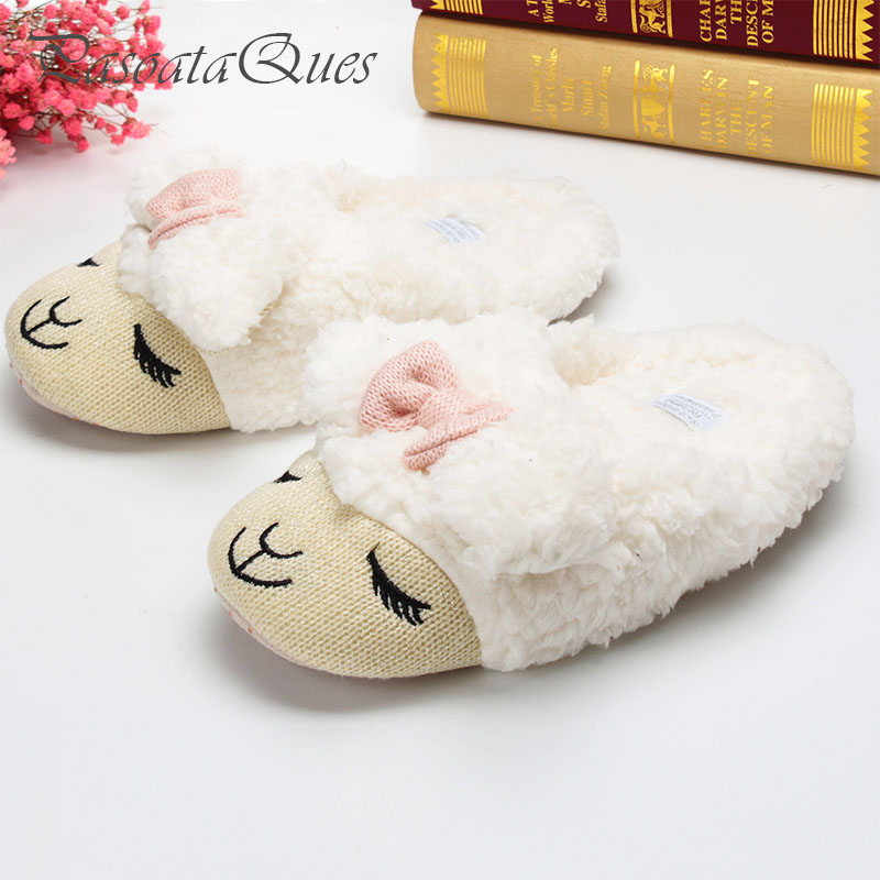 Cute Sheep Animal Cartoon Women Winter Home Slippers For Indoor Bedroom House Warm Cotton Shoes Adult Plush Flats Christmas Gift 2017 totoro plush slippers with leaf pantoufle femme women shoes woman house animal warm big animal woman funny adult slippers page 8