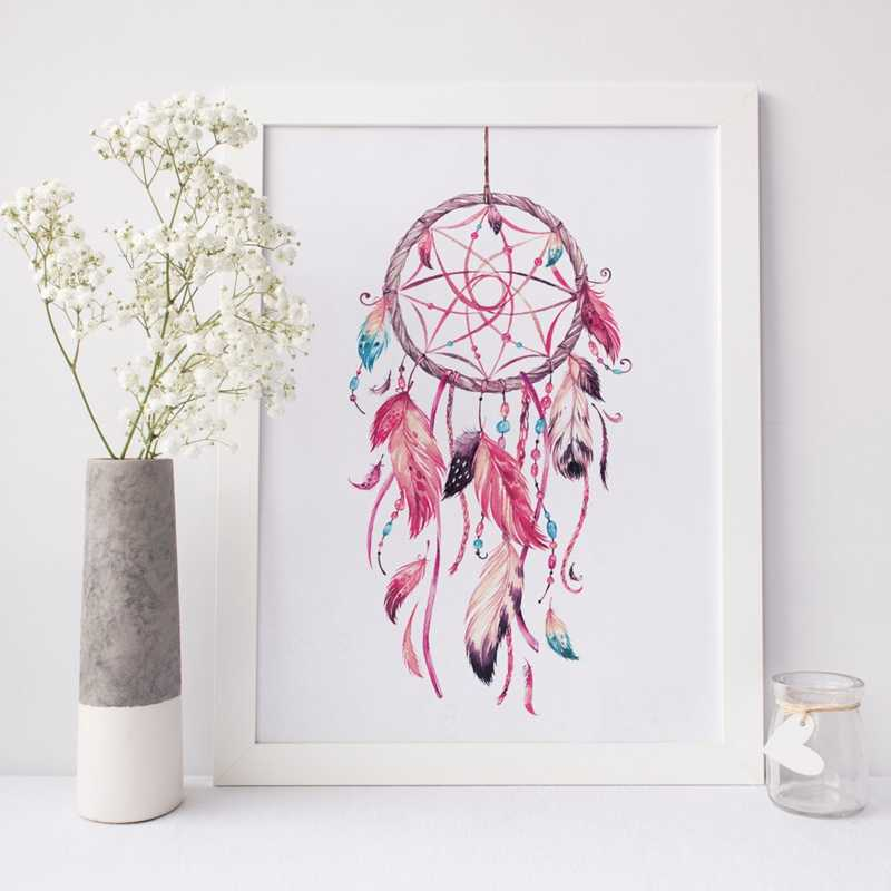 Dreamcatcher Print Aquarel Art Canvas Schilderij Dream Catcher Wall Art Foto Poster Tribal Boho Stijl Slaapkamer Home Decor