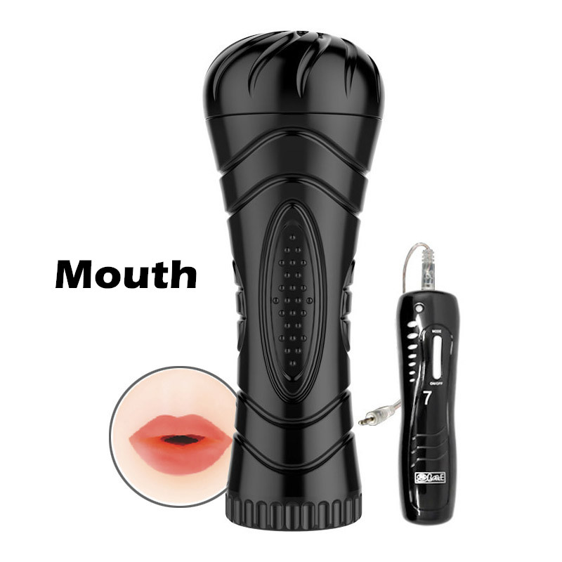Big Size Masturbation Cup For Men 7 Speed Vibrating Mouth/Anal/Vagina Male Masturbators Adult Novelty Oral <font><b>Sex</b></font> Doll Pussy <font><b>Toy</b></font> image