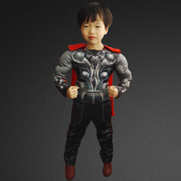 Superhero Thor Halloween Costume For Kids Avengers Muscle Jumpsuits Cloak Children Boys Clothes Movie Carnival Cosplay