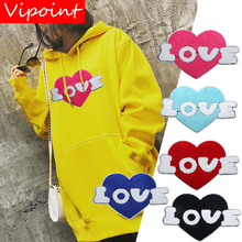 цена на embroidery chenille heart patches for jackets,love heart badges for jeans,heart applique,A470