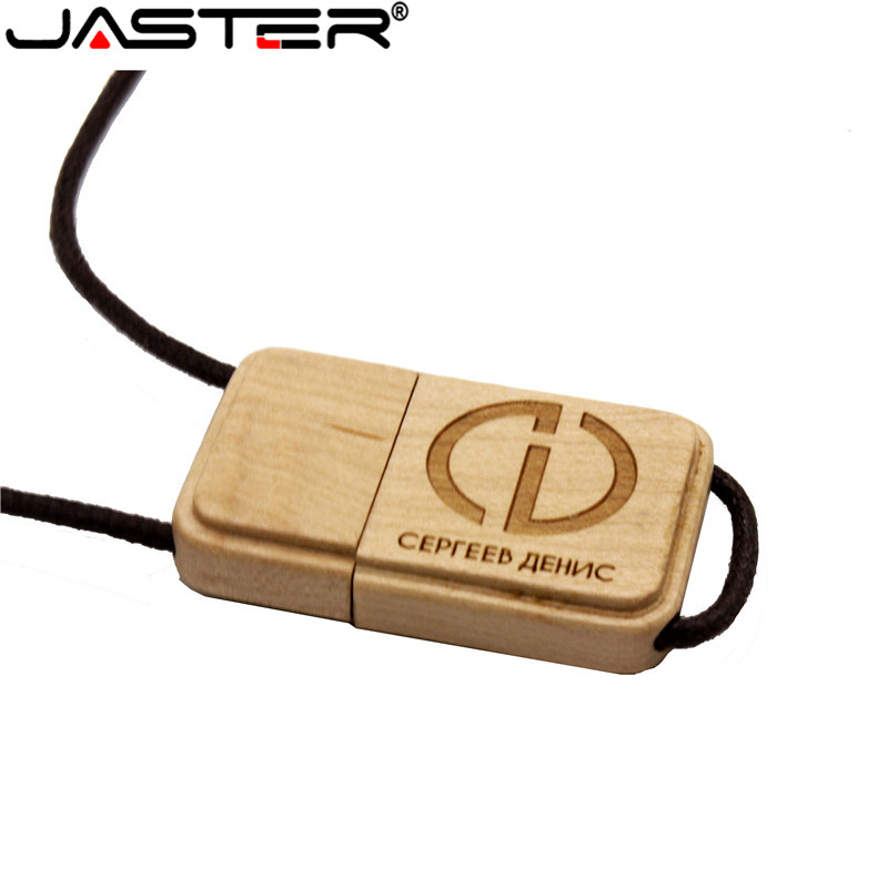 JASTER Wooden USB Flash Drive USB With Rope Pendrive 4GB 8GB 16GB 32GB 64GB Customer LOGO Memory Stick LOGO Customer Gift