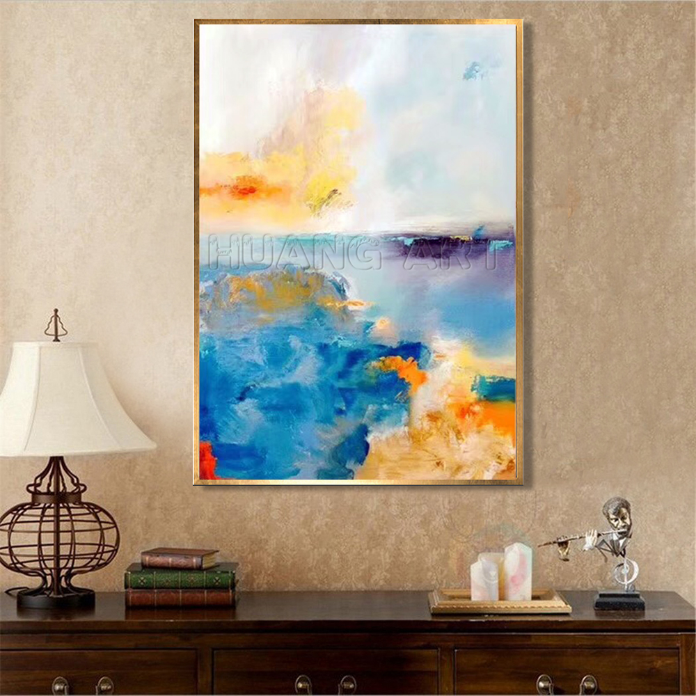 Pure Hand painted High Quality Modern Abstract Pastel Landscape Oil Painting on Canvas for Living Room Wall Decor Art Abstract in Painting Calligraphy from Home Garden