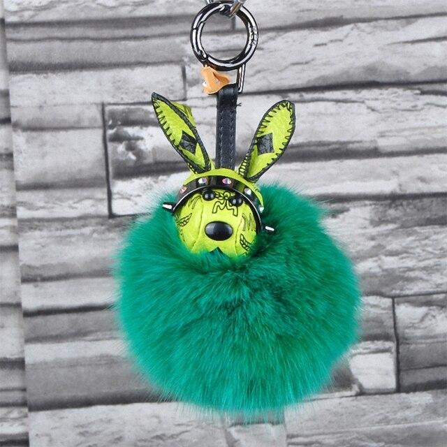 Rabbit Toy Fluffy Fox Fur PomPom Keychain Bags Hanger Charms Key Ring For Women Key Chain Porte Clef Fourrure Fo-K026-green