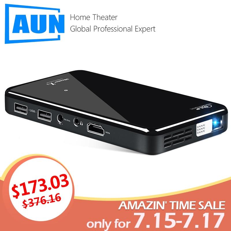 AUN MINI projecteur X2, Android 7.1OS WIFI (commande vocale en option, RAM: 2G ROM: 16G) prise en charge 1080 P, HDMI, projecteur 3D Portable no 4 K