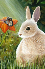 Rabbit looking at Butterfly Above Flower 5D DIY Diamond Painting Full Square  Embroidery Mosaic Crystals Animals